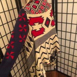 tobi S/M red blue southwest print knit sweater